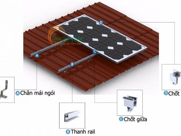 Khung giá đỡ tấm pin năng lượng mặt trời mái ngói