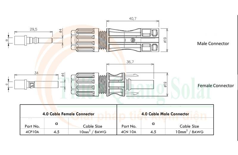 Đầu nối MC4 1500V DC 65A